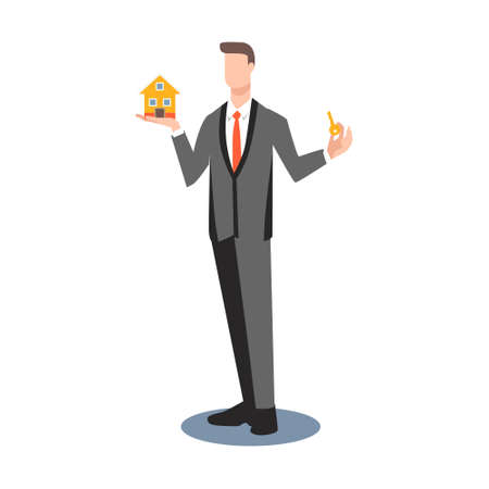 Man realtor holds a key in hand and small house in other hand. Businessman buys flat or house. Flat, illustration, vector