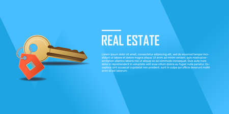 Design template with golden key for real estate services. Realism style, illustration, vector