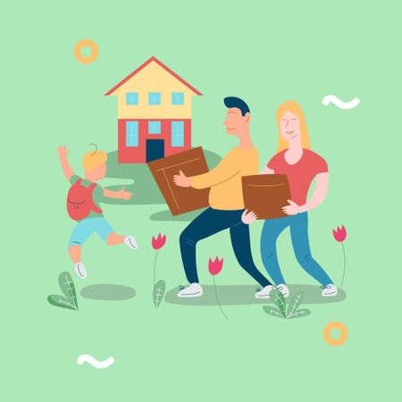 Illustration vector with family moving new house Vettoriali