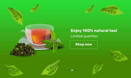 Vector illustration design template in realism style about tea Illustration
