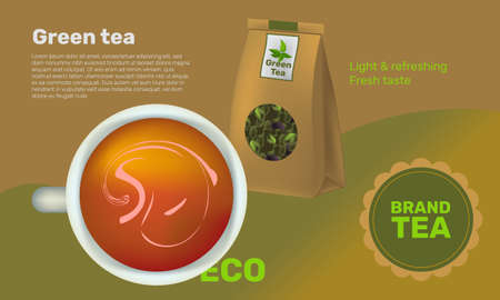 Vector illustration design template in realism style about tea Stock Photo