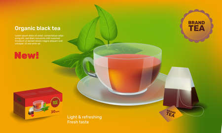 Realism style vector illustration design template for banner or advertising. Cup of tea Stock Photo