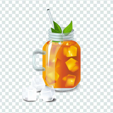 Vector illustration in real style about iced tea with ice