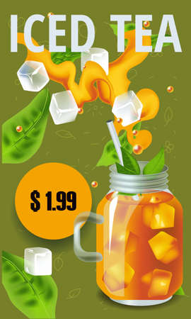 Vector illustration design template in realism style about iced tea Illustration
