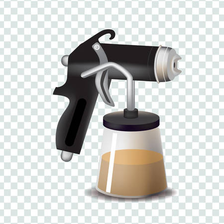 Vector realism style illustration with tan spray machine on transparent isolated background