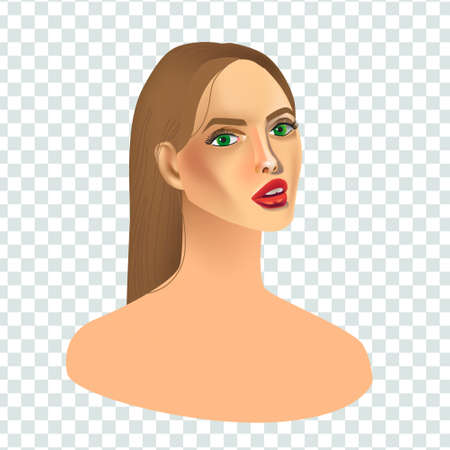 Vector realism style illustration with beautiful young woman on transparent isolated background