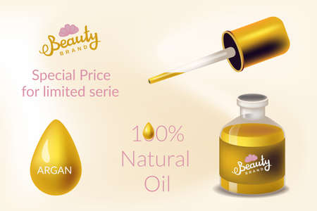 Realism style vector illustration for design poster or banner concept. Cosmetic with argan oil for beauty industry skin care