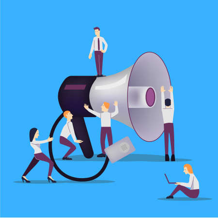 vector illustration -advertising and marketing. Megaphone with people on background. Banner, site, poster template graphic.