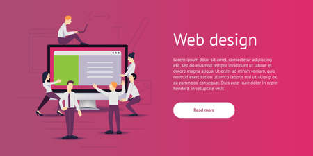 vector illustration - web site development. Monitor, computer on background. Banner, site, poster template with place for your text.