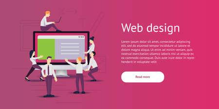 vector illustration - web site development. Monitor, computer on background Stock Photo