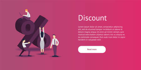 Vector illustration - discount sign percent in flat style. Stock Photo