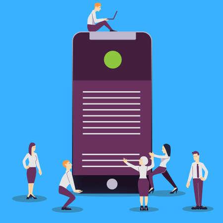 Vector illustration - mobile app development in flat style.