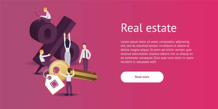 Vector illustration - discount sign for real estate percent in flat style.