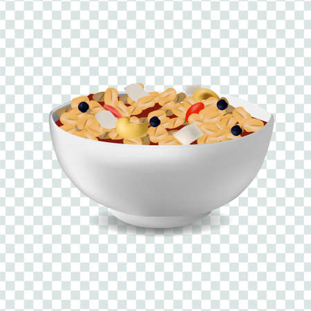 Vector realism illustration design template with muesli in bowl. Diet and healthy lifestyle concept
