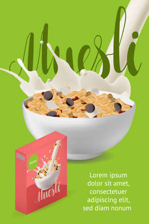 Vector realism poster, site or banner template with illustration muesli in bowl with milk or yogurt. Diet and healthy lifestyle concept and calligraphy text