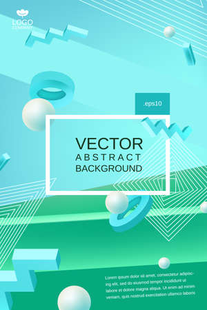 Vector abstract background in blue and green colors 向量圖像