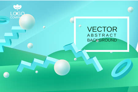 Vector abstract background in blue and green colors Illustration