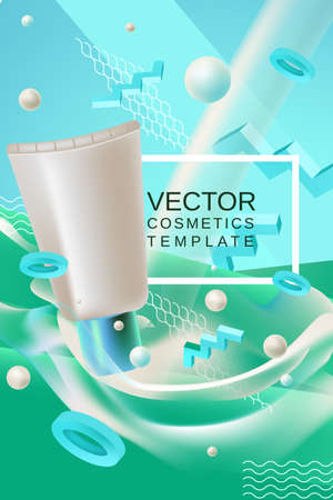 Vector abstract background cosmetics template for banner or poster design in blue green colors with realism style cream packaging and place for text