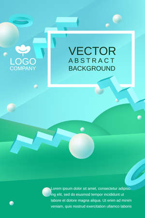 Vector abstract background template for banner or poster design in blue green colors with 3d elements and place for text Illustration