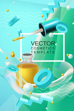 Vector abstract background cosmetics template for banner or poster design in blue green colors with realism style oil bottle and place for text Illustration