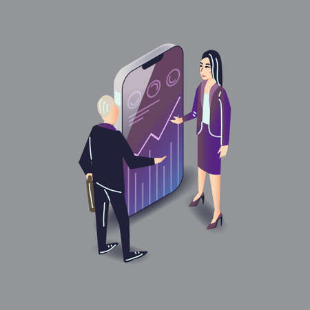 Vector app user illustration in modern flat style. Business people man and woman using inance smartphone mobile application and wanting to invest to development concept.