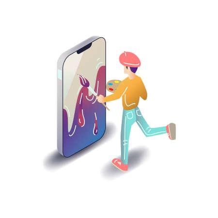 Vector app user illustration in modern flat style. Artist or designer drawing smartphone mobile application design concept.