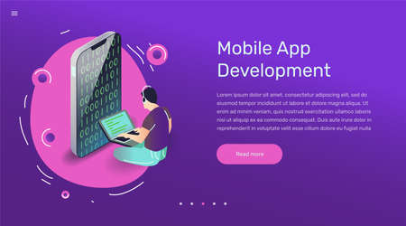 Vector app user illustration in modern flat style. Coder developing smartphone mobile application concept for banner or web design.