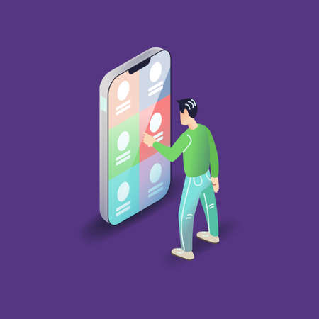 Vector app user illustration in modern flat style. Man using smartphone mobile application concept.