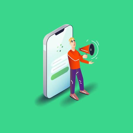 Vector app user illustration in modern flat style. Man advertising smartphone mobile application with megaphone concept. Illustration