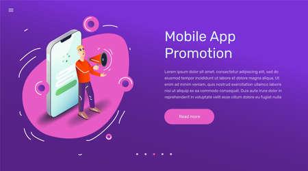 Vector app user illustration in modern flat style. Man advertising smartphone mobile application with megaphone concept for banner or web design.