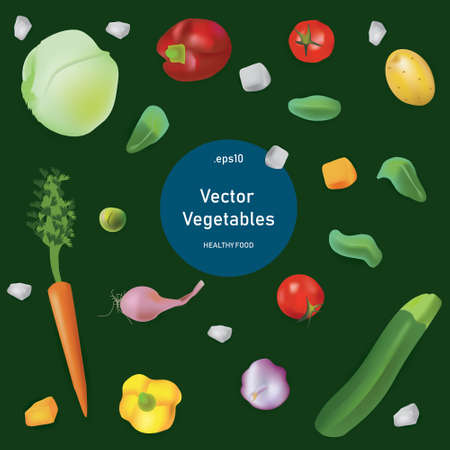 Vector illustration set in realism style about healty and eco food. Vegetables on green background and top view
