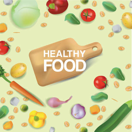 Vector illustration set in realism style about healty and eco food. The cutting board is surrounded by cereals, vegetables and nuts in top view