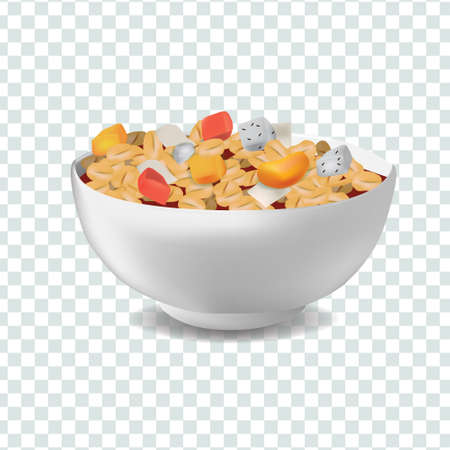 Vector realism style illustration muesli in bowl with fruits and berries