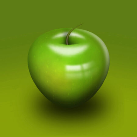 reflects: Sleek high gloss green apple close-up on a bright green background. On the skin reflects the window. Reflection, glare Stock Photo