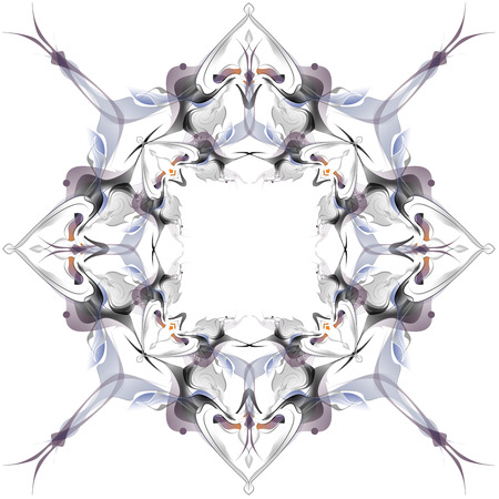 metamorphosis: Abstract winter pattern in the Art Nouveau style on a white background. Graceful, elegant designs. Resembles a snowflake or an exotic butterfly. Vintage antique ornament, psychedelic kaleidoscope