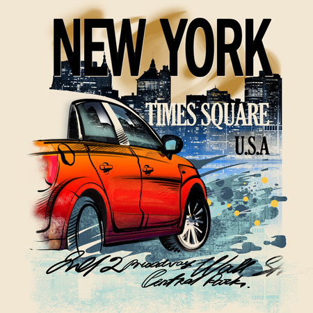 Painted red car on a night in New York. USA. Drawing hand. Rain, puddle, splashing water. Pencil drawing and watercolor. City landscape. A vivid illustration on a old beige . Urban style illustration