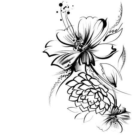 Flowers, drawn in ink on old paper. Childrens drawing a pencil in graphics technology. Roses and daisies. Vintage elegant style. The thin smooth lines. Template for greeting card. Black and white photo