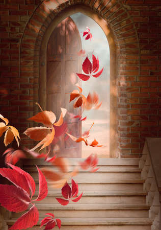eternal life: Autumn leaves fall through the open door