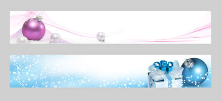 christmas banner: Christmas horizontal banners  Christmas banners for the web  Stock Photo
