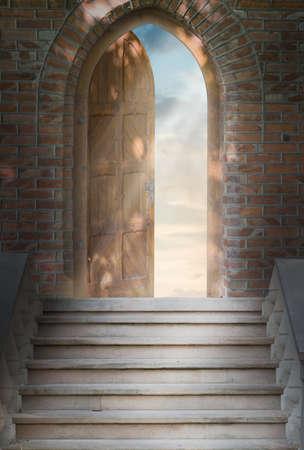 door sign: Door to new world  The door to paradise