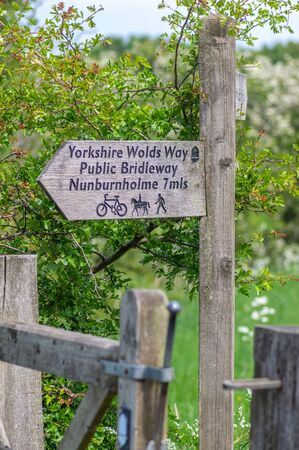 A wooden arrow directional sign post for walkers, cyclists and horse riders in the Yorkshire Wolds.