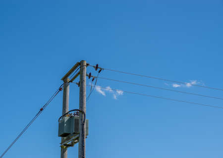 A electricity transformer on two wooden telegraph poles with a blue sky background.