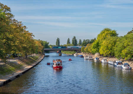 York, North Yorkshire, UK, 14/09/2020 - the river Ouse in York with boats and tourists on a sunny day.