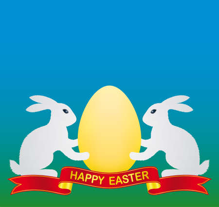 white easter bunny and gold easter egg Vector