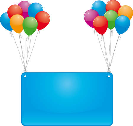 celebrate balloons and banner Vector
