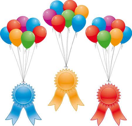 vector award ribbons and balloons (without gradinent mesh) Vector