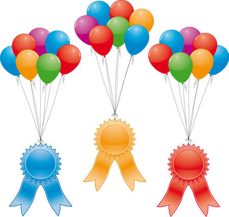 winning first: vector award ribbons and balloons (without gradinent mesh) Illustration