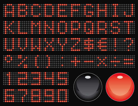 dot-matrix display font (50 characters) Vector