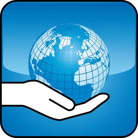 handful: hand and globe