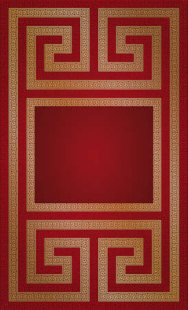 red page with golden pattern and copy-space Vector